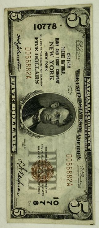 1929 Chatham Phenix National Bank & Trust York $5 Note 10778