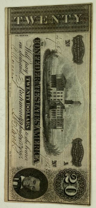 1864 $20 Confederate States Of America Note Richmond