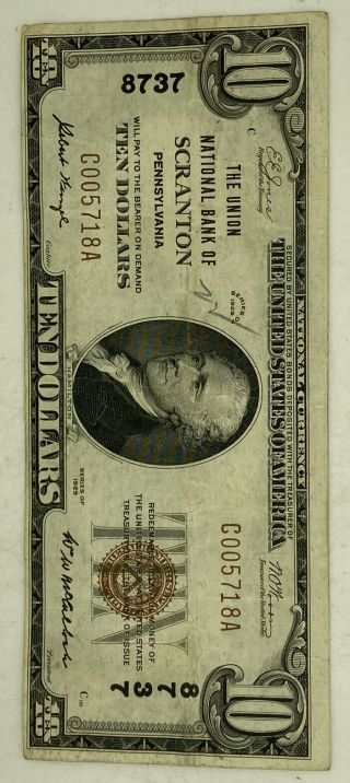 $10 1929 The Union National Bank Of Scranton Pa 8737 Currency