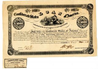 1862 $1000 Confederate Bond.  Number Issued 993