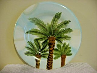 Tabletops Gallery Baja Palm Trees Salad Luncheon Plate Hand Painted Hand Crafted