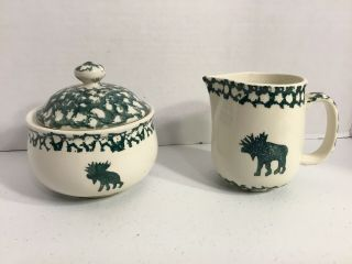 Tienshan Folk Craft Moose Country Creamer And Sugar Bowl With Lid Green Sponge