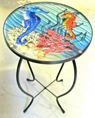 Seahorse In The Coral Fused Glass Hand Crafted Decorative Table