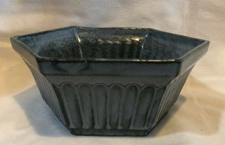 Robinson Ransbottom Pottery,  R.  R.  P.  Co Hexagon Arts & Crafts Dish Planter Blue