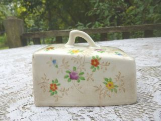 Vintage Pottery/china Wedge Shape Cheese Keeper Top Only Floral Pattern 5 1/4in.