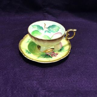 Hand Crafted Tea Cup And Saucer With Florial Design Made In Japan