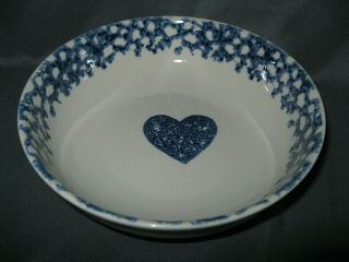 Folk Craft Hearts By Tienshan Coupe Bowl Blue Sponge