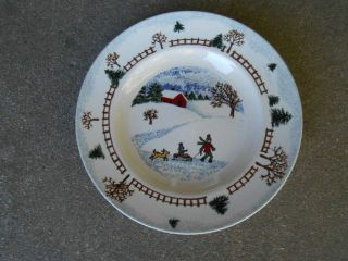 "Tienshan Folk Craft Winter Side 8.  5 "" Salad/dessert Plate Christmas"