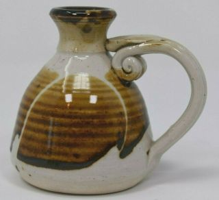Volcano Ca Small Art Pottery Vase Hand Crafted Handmade Marked Handled 3.  25 ""