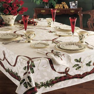 "Lenox Holiday Nouveau Holiday 60 "" X 102 "" Oblong Tablecloth Nip"