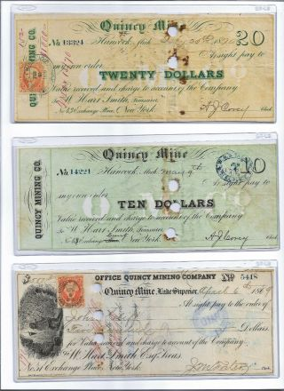 1860s $10,  $20,  $500 Quincy Mine,  Michigan,  Copper Mining Scrip Set