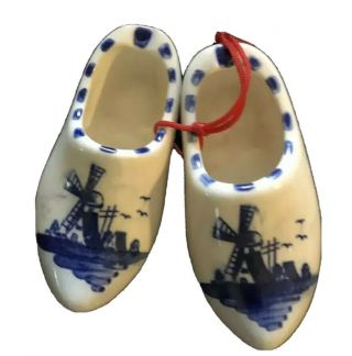 Miniature Porcelain Delft Blue Holland Dutch Shoes Clogs Hand Crafted 2 1/2""