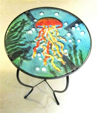 Jelly Fish Floating Through Sea Grass Fused Glass Hand Crafted Decorative Table