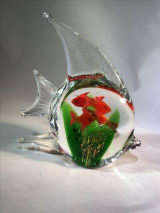 """Art Glass Hand Crafted Hand Blown Angel Fish Aquarium 4 Fish In Belly 5"""" Tall"""