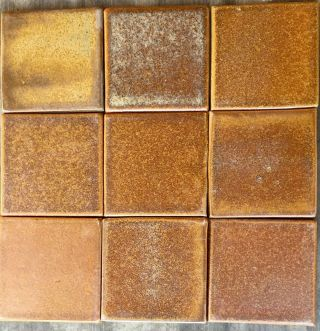 "Fulper Glaze Tiles - Copper Dust 4 "" X 4 "",  Arts And Craft,  Handmade Ceramic Tile."
