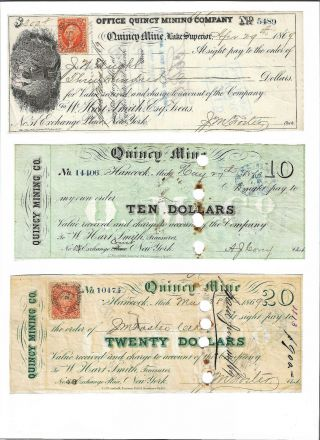 1860s $10,  $20,  $300 Quincy Mine,  Michigan,  Copper Mining Scrip Set