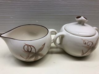 Vintage Winfield China Passion Flower Cream & Sugar Bowl,  Hand Crafted,