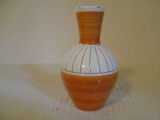 Hand Crafted Studio Pottery Vase From Norway Orange And White Design Signed