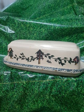 Home And Garden Party Birdhouse Butter Dish Handmade August 2001