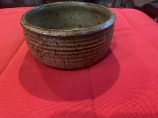 "Drip Speck Glazed Signed "" Mannon "" Hand Crafted Art Pottery Bowl Pot Vintage"