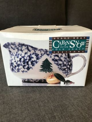 Folk Craft Cabin In The Snow Gravy Boat Tienshan Vintage Christmas