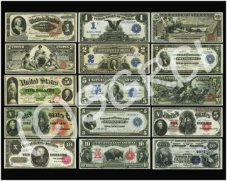 "United States Large Size Currency Paper Money Poster 16 "" X 20 """