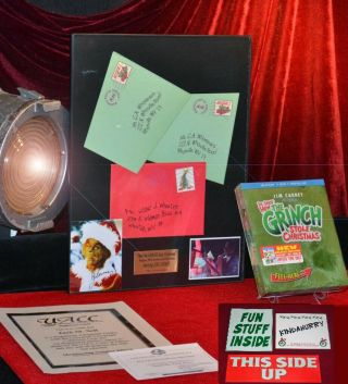 How Grinch Stole Christmas Jim Carrey Prop Mail,  Framed,  Signed Pp Dvd,  Uacc