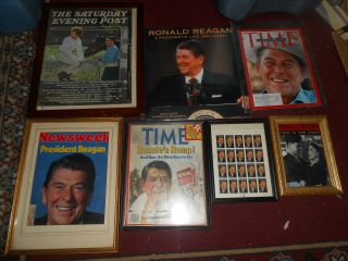 16 Different Ronald Reagan Items Framed Mags Dvds Badge Magnet Glass Cap Bear Nr