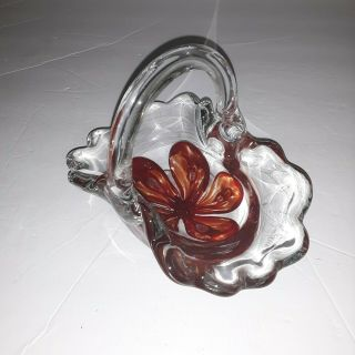 Signed Kerry Zimmerman Hand Crafted Art Glass Basket Paperweight 1999