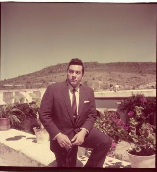 Mario Lanza At Home In Garden In Suit 2.  25 X 2.  25 Transparency
