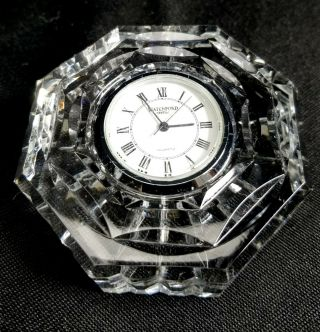 Waterford Crystal Octagonal Desk Table Clock Beautifully Crafted Cut Glass