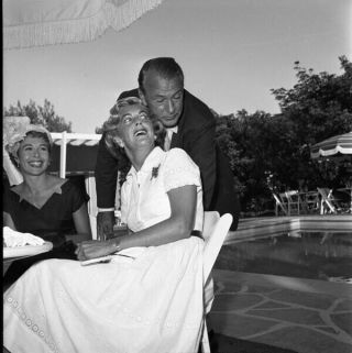 Gary Cooper Candid By Pool 2.  25 X 2.  25 Camera Negative & Contact Photo