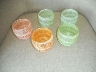5 Vintage Spaghetti String Roly Poly Glasses Color Craft