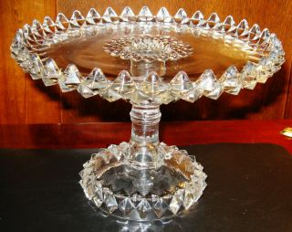 """Lovely Small Antique Glass Cupcake Or Cake Pedestal Cake Plate 8 """" Wide"""