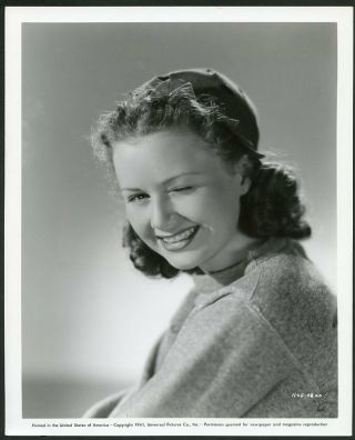 Ann Gillis Winking At Camera Vtg 1941 Universal Pictures Portrait Photo