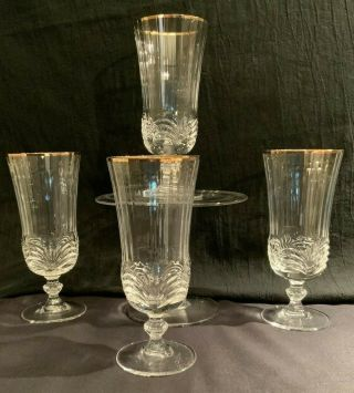 Royal Crystal Rock Aurea Gold Iced Tea Glass Crafted In Italy Set Of 4