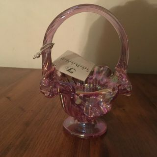 Fenton Hand Crafted Butch Wright Pink Carnival Glass Basket
