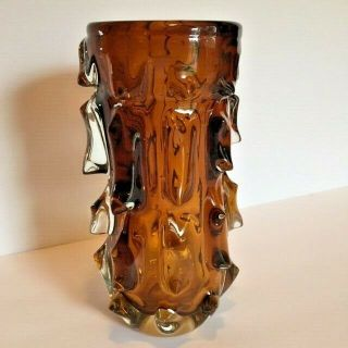 Amber Art Glass Vase Spikes Dramatic Heavy Hand Crafted 8 1/2 Inches High