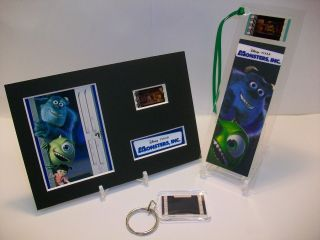 Monsters Inc 3 Piece Movie Film Cell Memorabilia Compliments Dvd Poster Vhs
