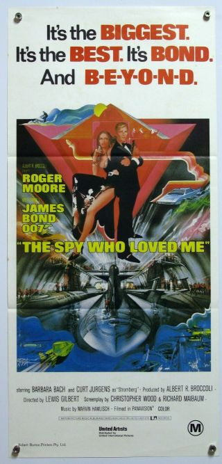 The Spy Who Loved Me Roger Moore Barbara Bach 007 James Bond Aus Daybill 1977