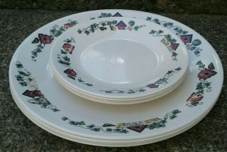 Corelle Garden Home Birdhouses Ivy 4 Dinner Plates 4 Bread And Butter