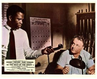 In The Heat Of The Night Lobby Card Sidney Poitier Rod Steiger 1967