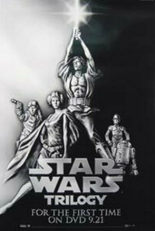 Star Wars Trilogy Rare Dvd 27x40 Movie Poster Harrison Ford R2d2 C3po