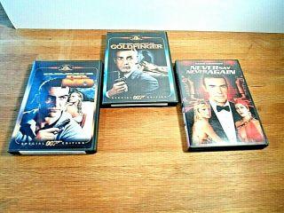 Sean Connery 3 Dvd James Bond 007 Dr No,  Goldfinger,  Never Say Never Again