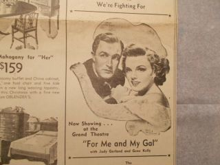 """Lovely Rare Judy Garland & Gene Kelly """" For Me And My Gal """" Furniture Ad 1942"""