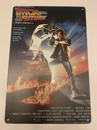 Back To The Future Metal Wall Tin Sign Movie Poster Dvd Vhs Cover Micheal J Fox