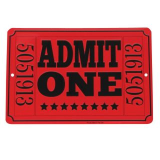 Admit One Red Movie Theatre Ticket Metal Sign Home Theater Man Cave Wall Decor