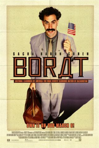 Borat: Cultural Learnings.  (2006) Dvd Poster,  Ss,  Nm,  Rolled