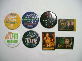 8 Blockbuster Video Dvd And Donation Promo Ad Pin Back Badges
