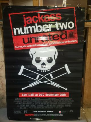 Jackass Number Two 2006 Rolled 27.  25x39.  75 Dvd Promotional Poster
